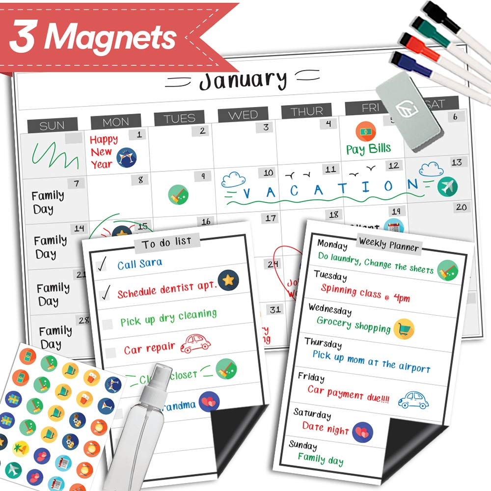 """Magnetic Dry Erase Refrigerator Calendar - 17"""" x 11"""" - Reusable Monthly Whiteboard Fridge Planner - Large Kitchen Magnet Chore Chart - Erasable Weekly White Board Grocery & to Do List"""