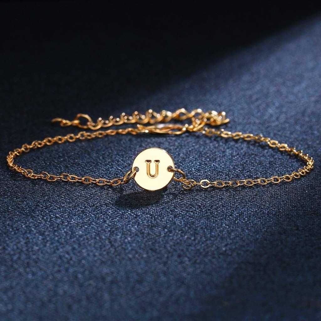 WANGZI Alphabet lettre initiale disque Bracelet personnalis/é or A /à Z Bracelet damiti/é