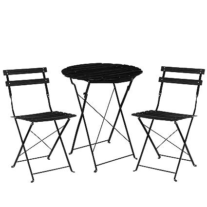 casa.pro]® Set bistro de madera (mesa + 2 sillas) juego de muebles ...