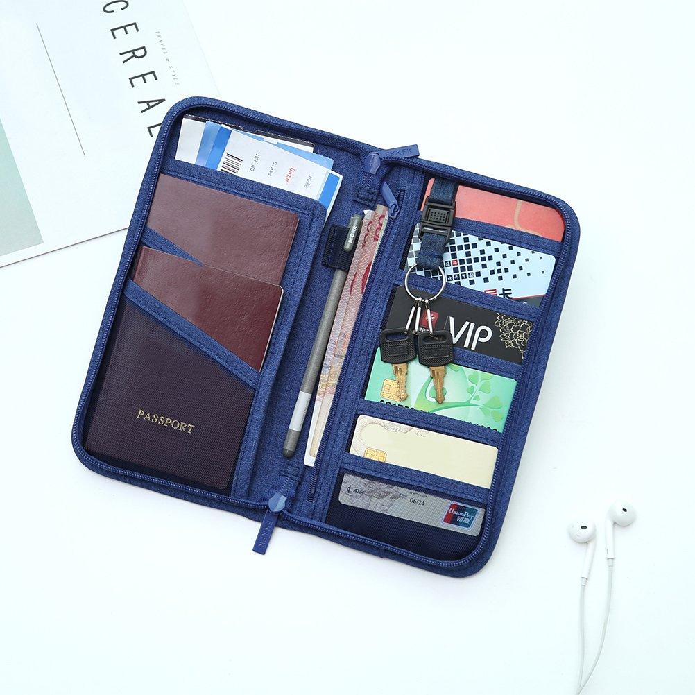 VORCOOL Passport Wallet Case Multi-function Travel Passport Wallet Bag Credit Card ID Documents Zipper Organizer Case Holder