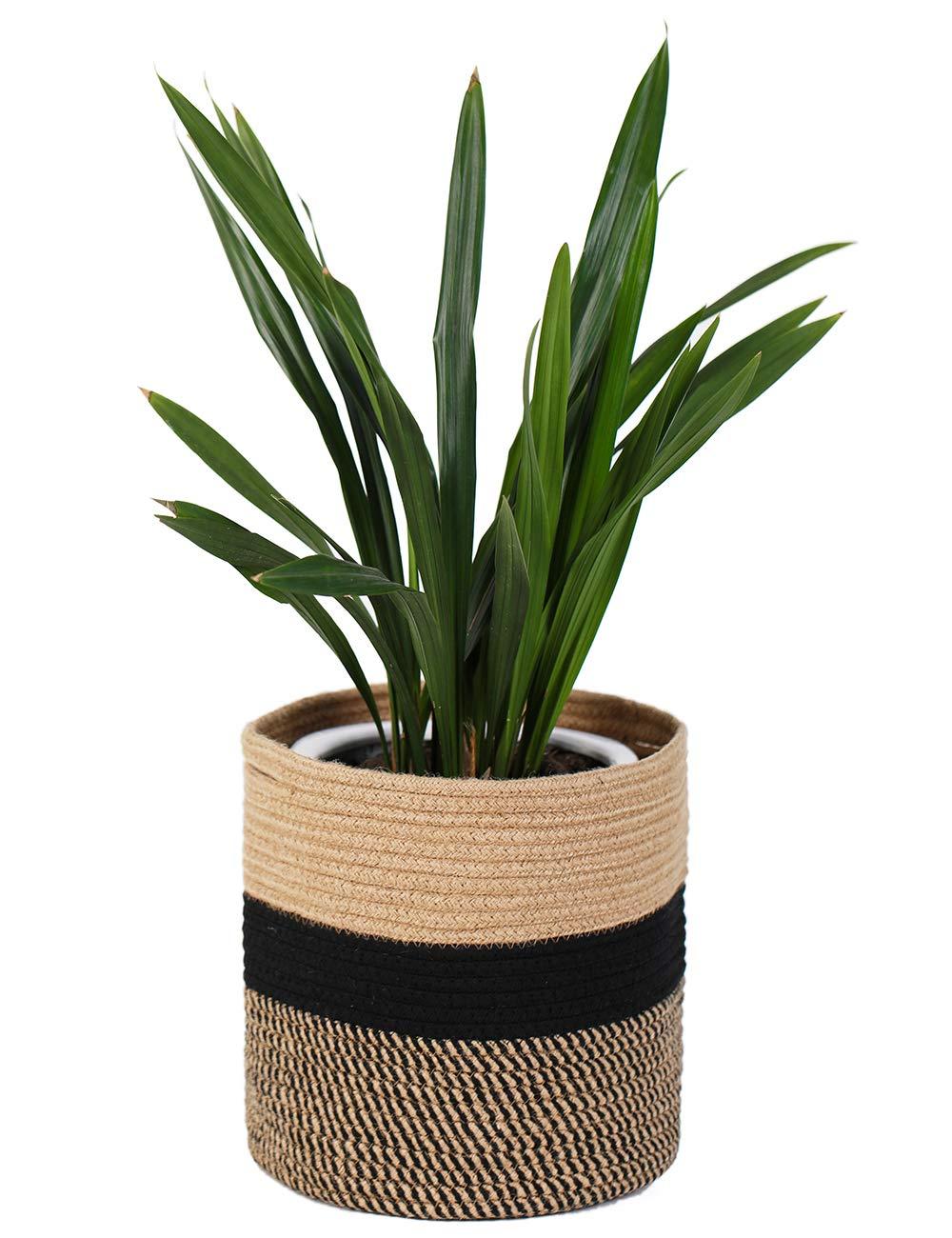 YXMYH Sturdy Jute Rope Plant Basket Modern Woven Basket for10 Flower Pot Floor Indoor Planters, 11 x 11 Storage Organizer Basket Rustic Home Decor,Toy Storage Basket For Kids Room, Black and Beige