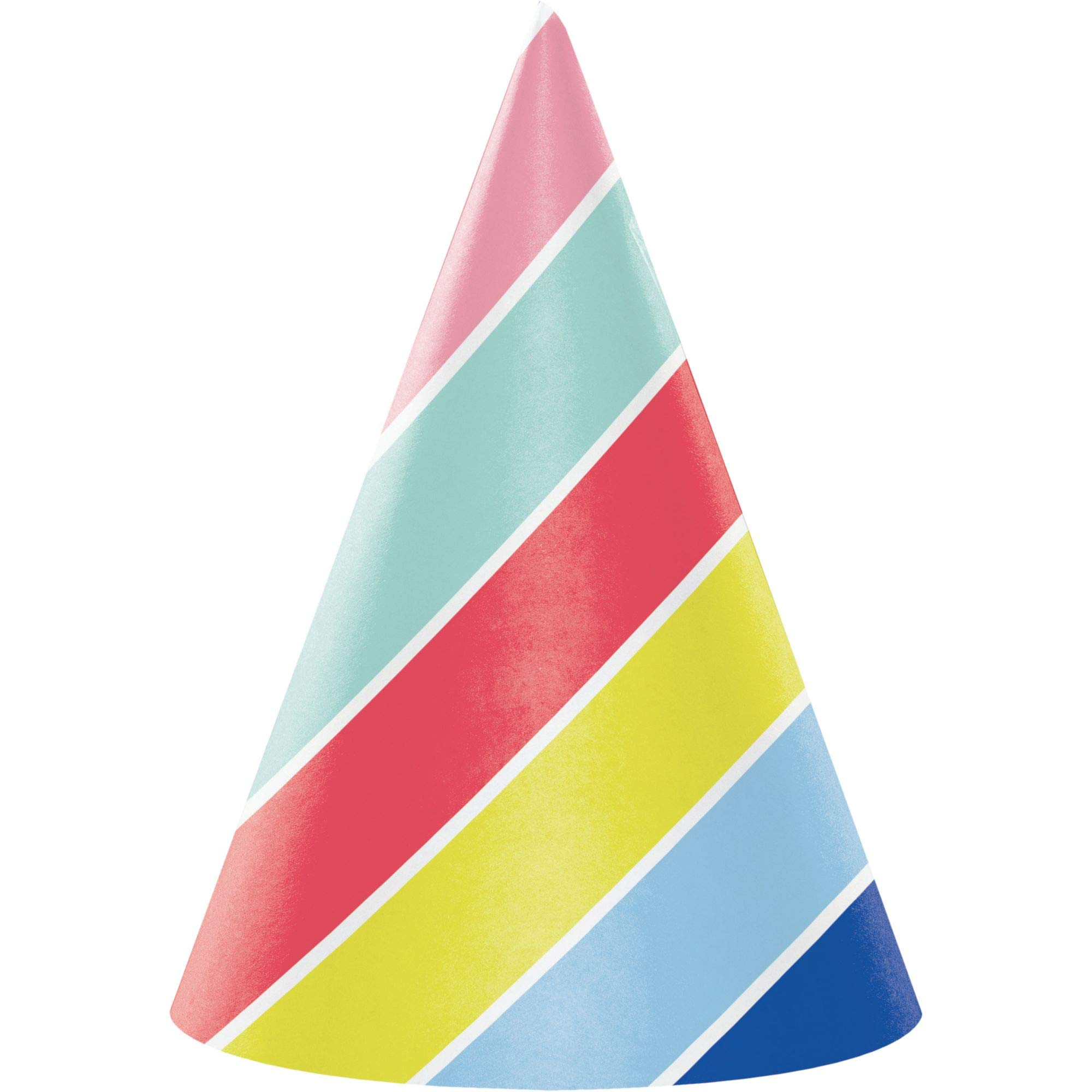 Club Pack of 48 Red and Yellow Over The Rainbow Striped Party Hats 6.25''