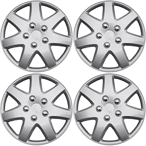 Amazon.com: OxGord Hubcaps for Nissan Rogue (Pack of 4) Wheel Covers 16 inch, Snap On, Silver: Automotive