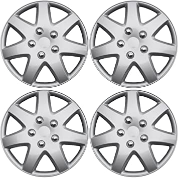 OxGord Hubcaps for Nissan Rogue (Pack of 4) Wheel Covers 16 inch, Snap On, Silver