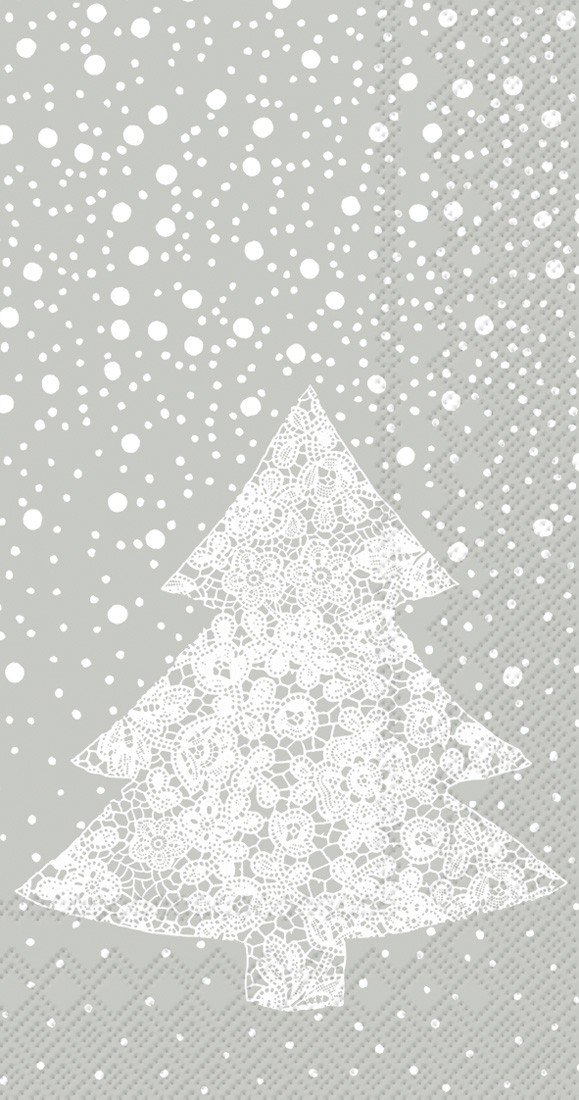 Ideal Home Range 16-Count Christmas Lace Paper Guest Towel Napkins, Silver