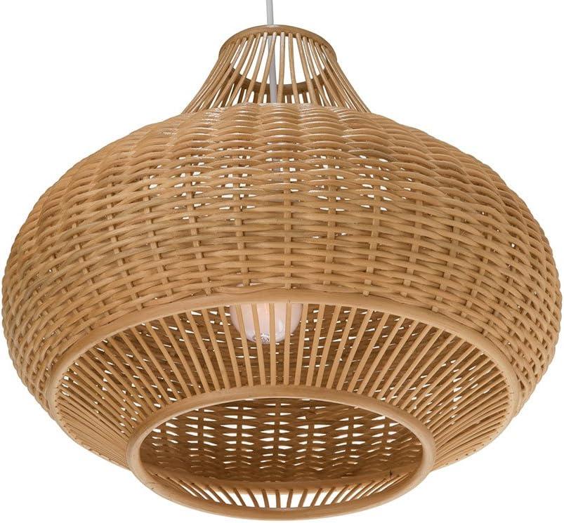 Natural Brown KOUBOO 1050077 Handwoven Bamboori Discus Pendant Lamp