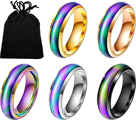5 Pieces Stainless Steel Changing Color Mood Ring Unisex Temperature Emotion Ring