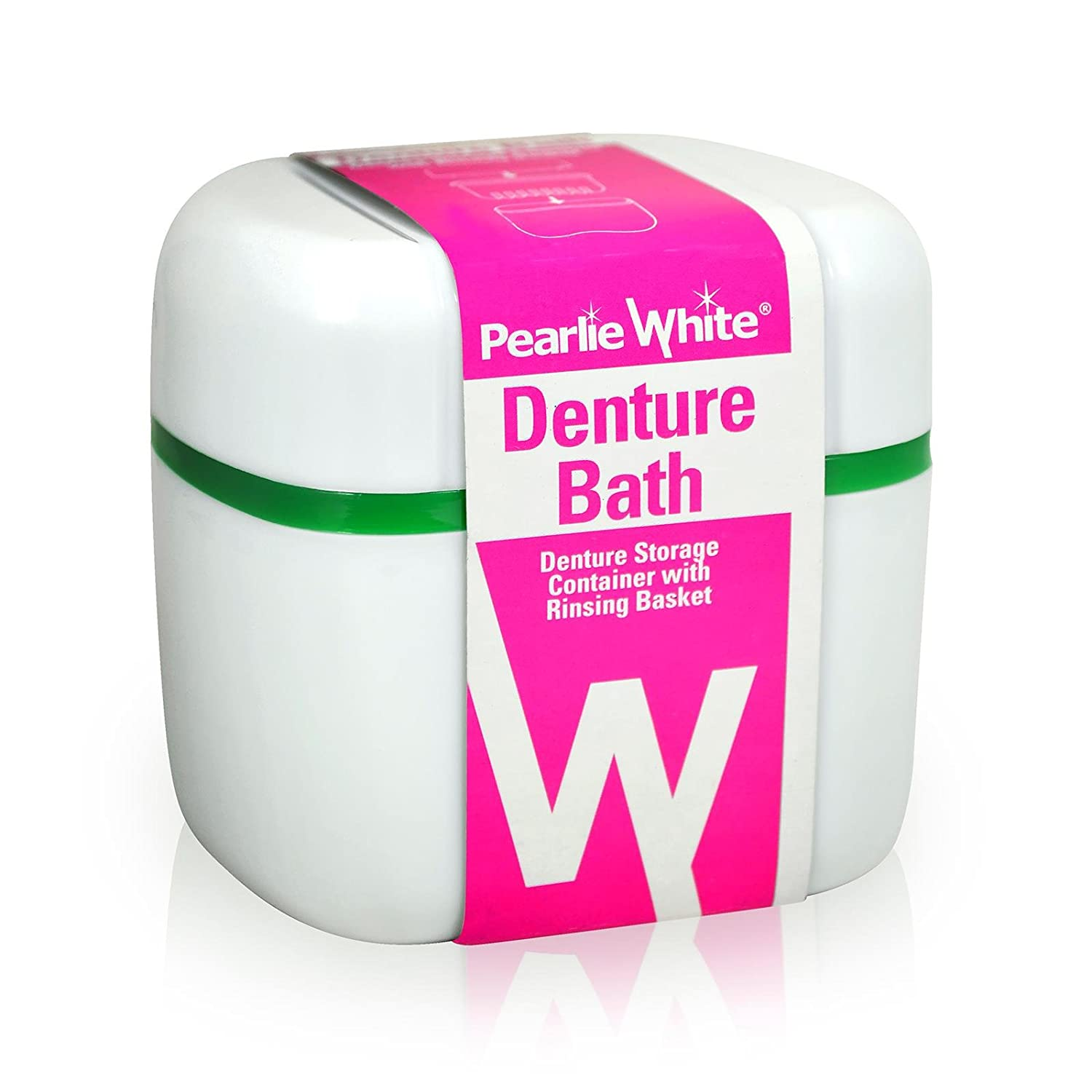 Pearlie White Denture Container With Rinsing Basket