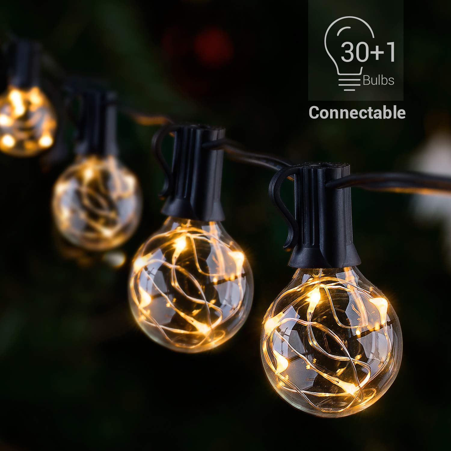 Novtech LED Outdoor String Lights Waterproof Patio String Lights - 32FT 30Bulbs G40 Globe String Lights Outdoor Decorative String Lights for Backyard Pergola Party Bistro Porch Cafe - Connectable