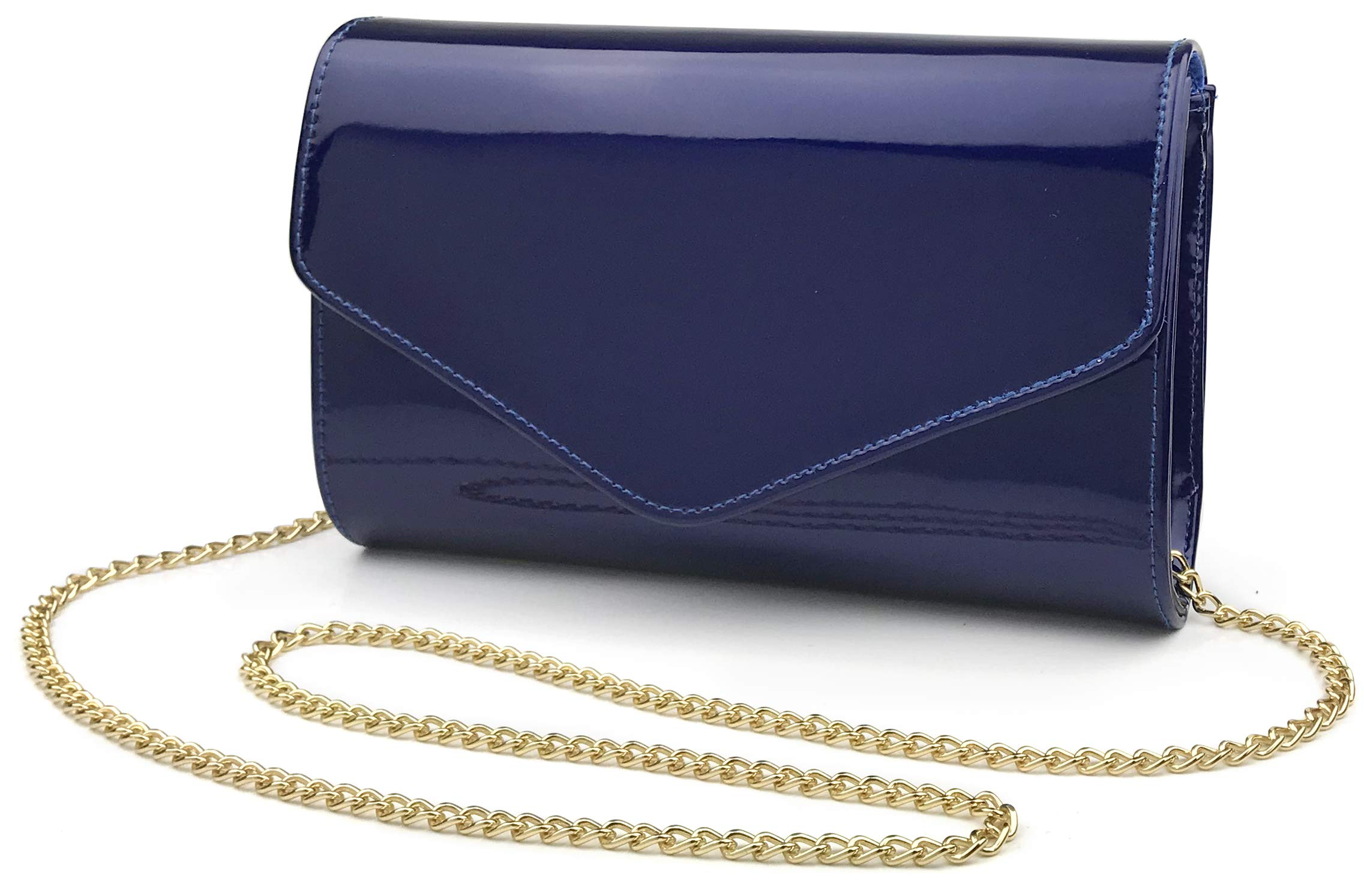 Glossy Envelope Evening Clutch Faux Patent Leather Women Chain Shoulder Bag Solid Color Purse (Navy)