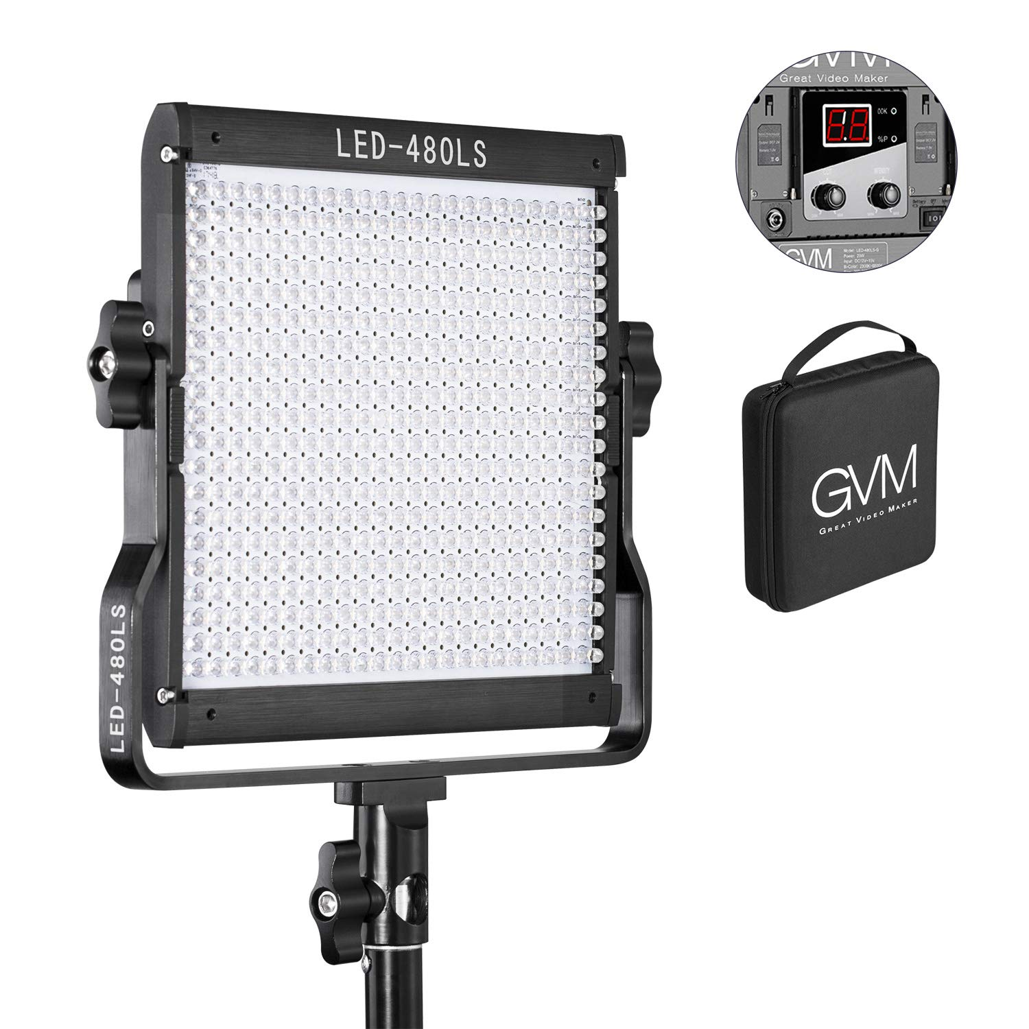 GVM 480 LED Video Panel Light Dimmable Bi-Color Camera Light in Metal Housing with Digital Readout for Studio, YouTube Outdoor Video Photography Lighting Kit 2300K6800K, CRI97+ Tlci97 +