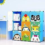 KOUSI Kids' Toy Storage Organizer Bookcase, 9 Storage Cube Blue