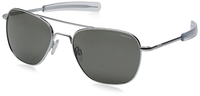 5b8b30308c18 Randolph Aviator Square Sunglasses, 55, Matte Chrome, Bayonet, AGX Lenses