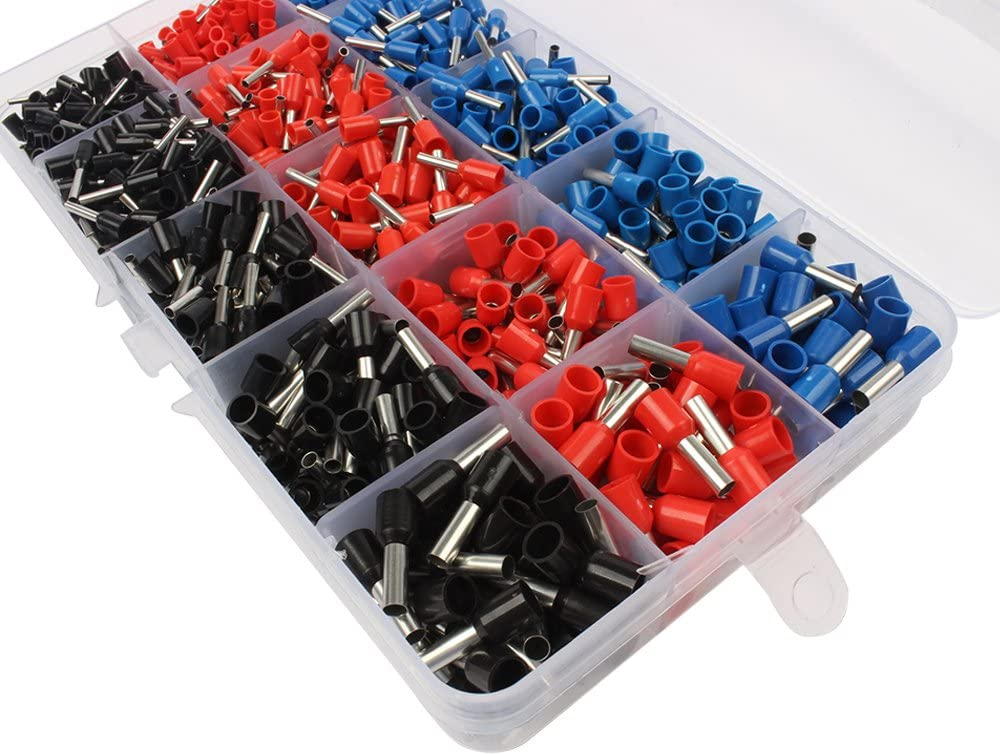 1065pcs 22~12AWG Copper Crimp Insulated Cord Pin End Terminal Bootlace Ferrules
