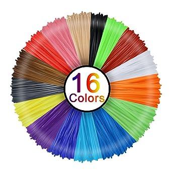 Filamento 3D de lápiz, Rusee, 16 Colores, 5 m, Filamento PLA de ...