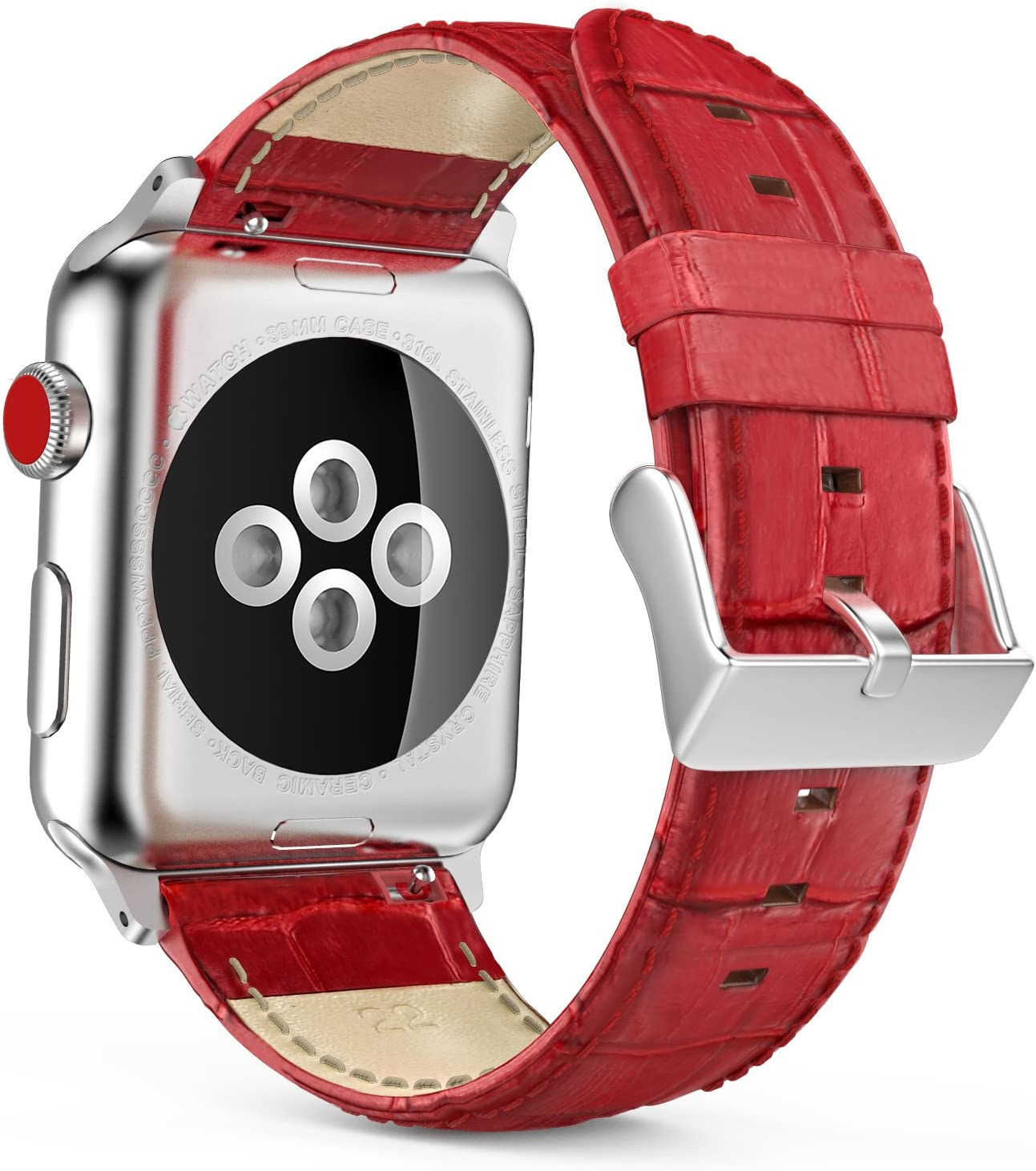 MoKo Compatible Band Replacement for Apple Watch 42mm 44mm Series 5/4/3/2/1, Premium Genuine Leather Crocodile Pattern Replacement Strap with Connectors - RED (Not Fit 38mm 40mm Versions)