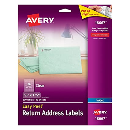 Avery Easy Peel Return Address Labels For Inkjet