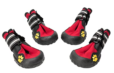 BINGPET Waterproof Dog Boots Rubber Non Slip Red Dogs Walking Shoes Paw Protectors Size 7