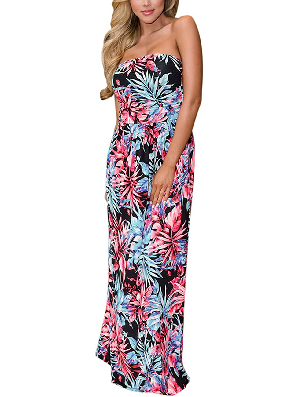 fd8591ed254 Top2  GloryStar Women s Summer Boho Strapless Midi Dresses High Waist  Vintage Floral Print Maxi Long Dress with Pockets