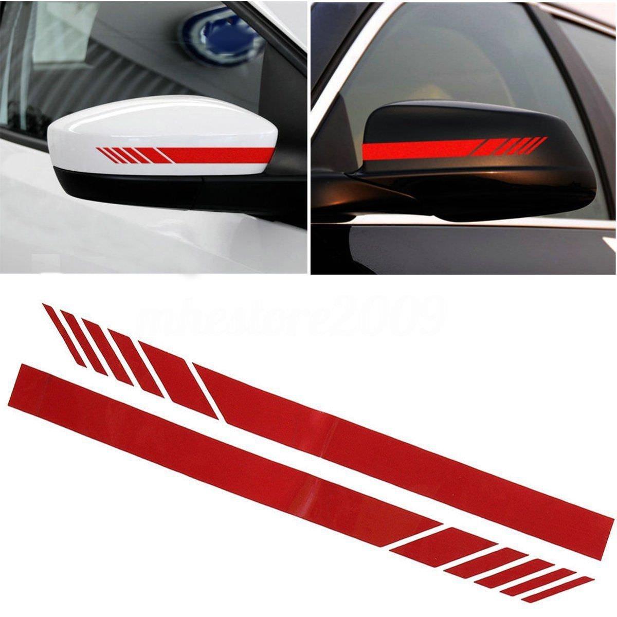 Cvanu car rearview mirror strip sticker vinyl racing decal emblem red for maruti suzuki alto 800 amazon in car motorbike