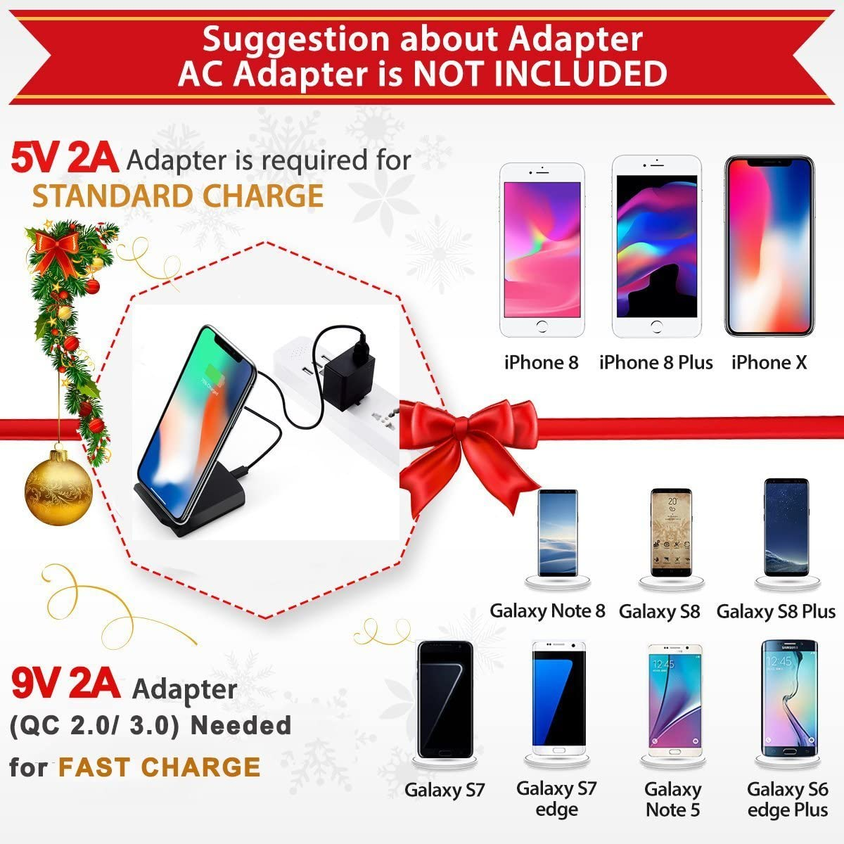 Wireless Charger Compatible with iPhone X//8//8 Plus,Qi Fast Wireless Charging Pad for Samsung Galaxy Note 8 S8 S8 Plus S7 S7 Edge Note 5 S6 Edge Plus and other Smartphone Devices【No AC Adapter】