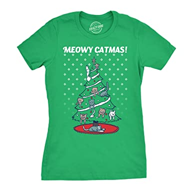 9c573a679 Womens Meowy Christmas Cat Tree Ugly Christmas Sweater T Shirt Green (Green)  - S