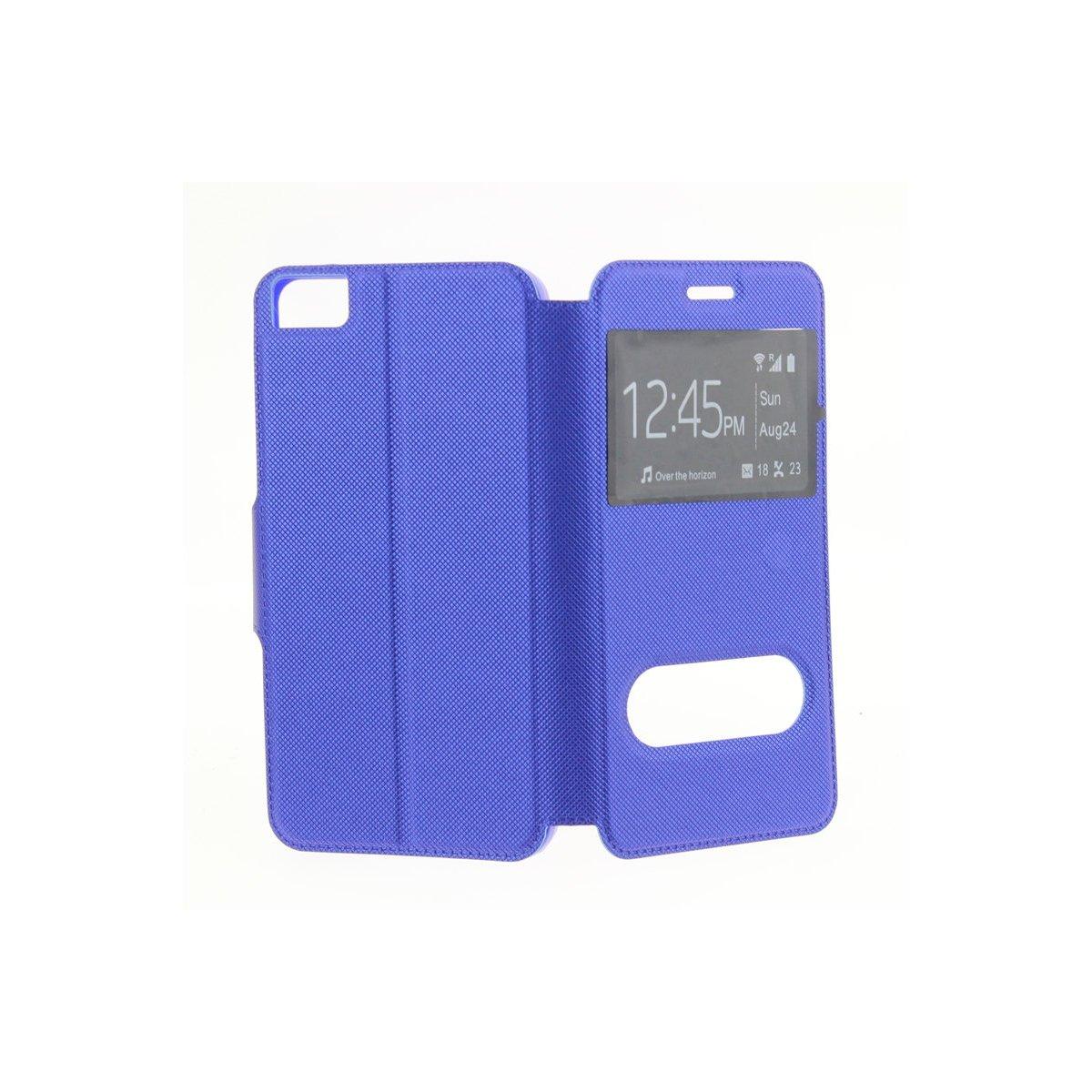MISEMIYA - Funda para BQ Aquaris E5s / E5 4G LTE/FNAC PHABLET 2 5 4G - Funda + Protector Cristal Templado, Libro Cruzada con Soporte,Azul