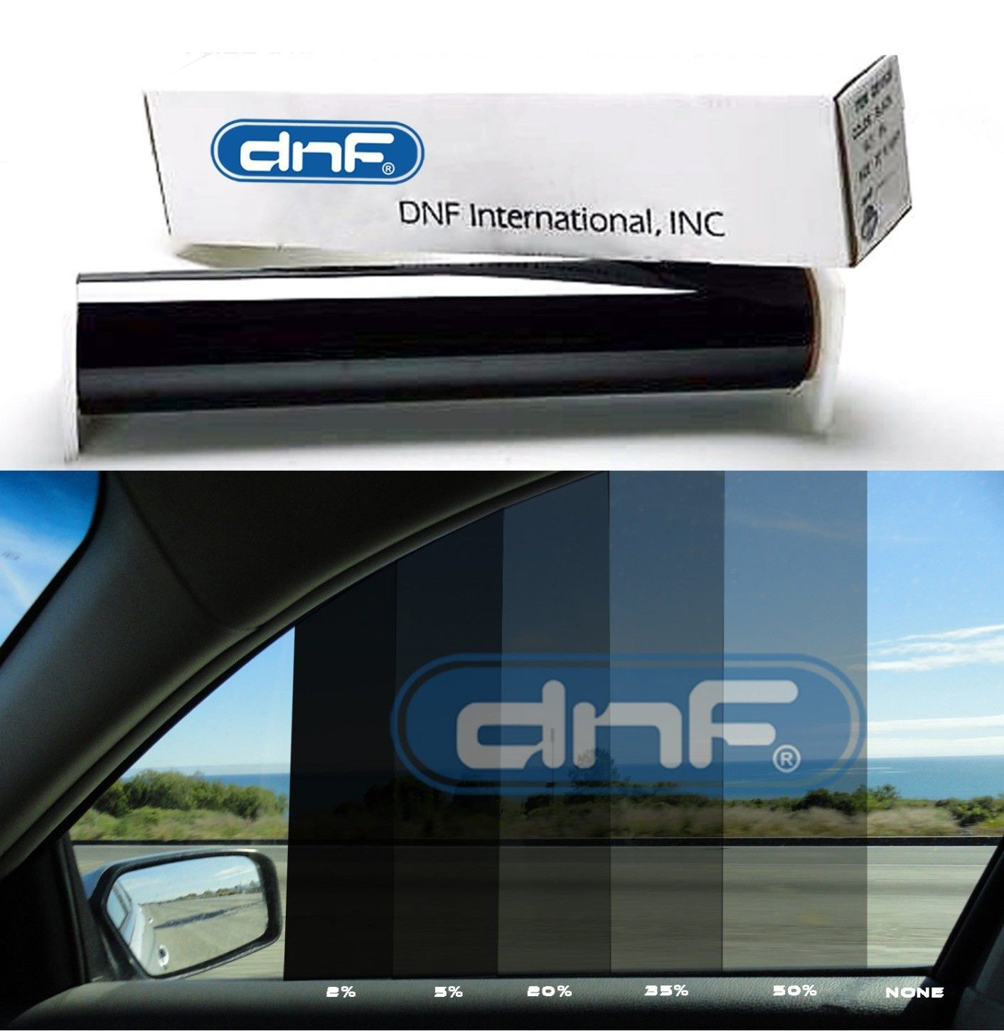 DNF 1 PLY Black 50% 60'' X 100 Feet Window Tint Film with Free DNF Tri-Edge Squeegee and Complimentary Cutting Service