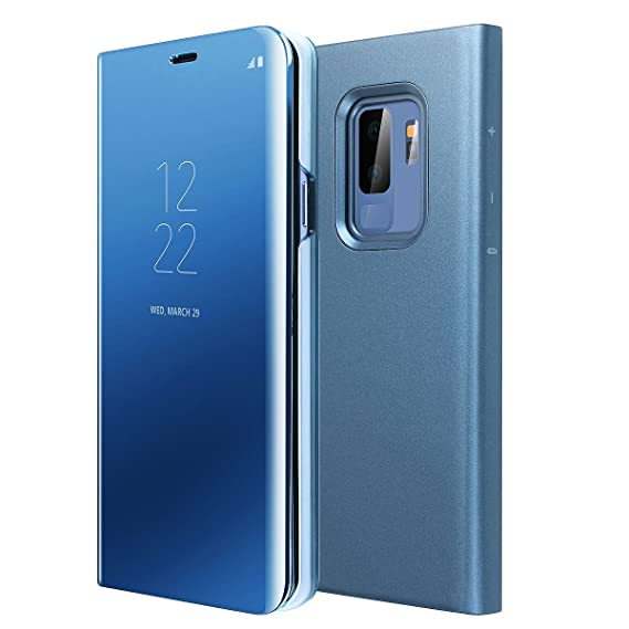 AICase Galaxy S9 Case, Luxury Translucent View Window Front Smart  Sleep/Wake Up Function Mirror Screen Flip Electroplate Plating Stand Full  Body