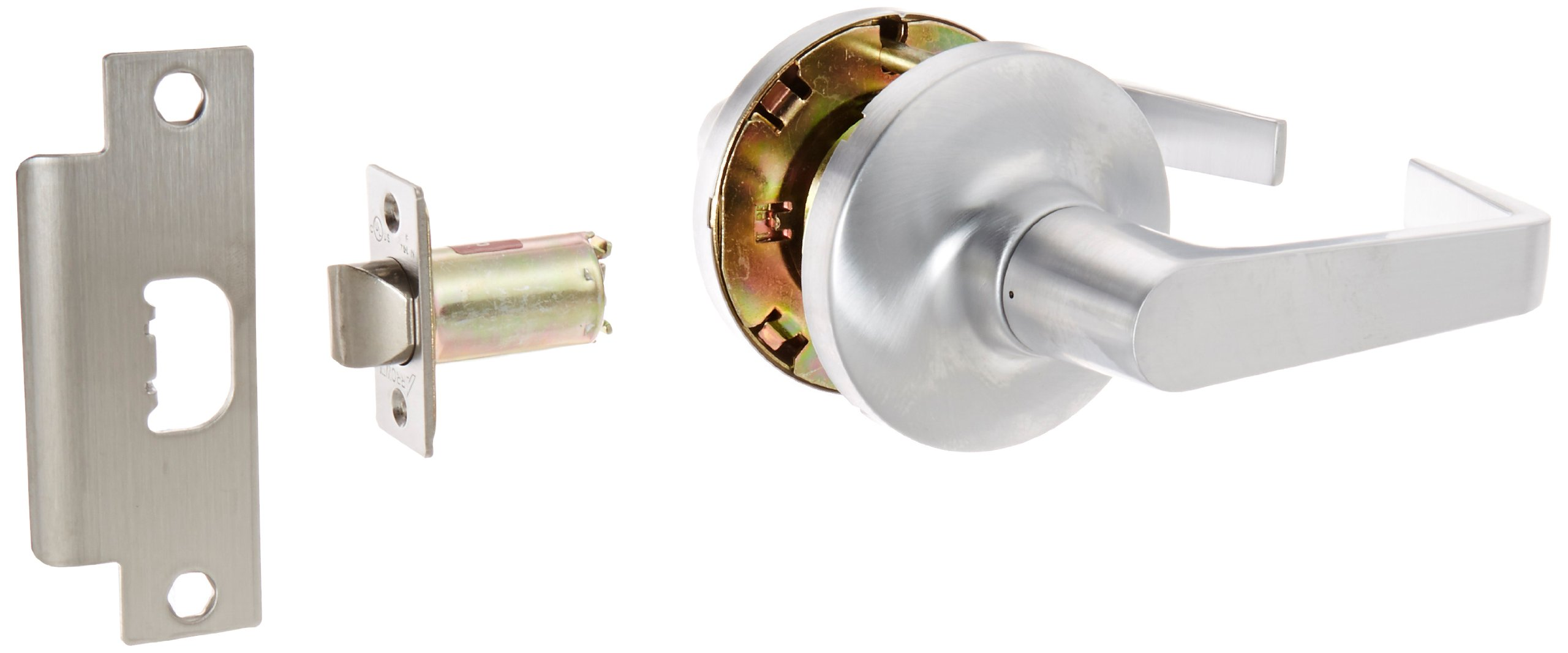 Arrow Lock GL Series Grade 1 Satin Chromium Plated Passage Cylindrical Lever Lock, 1-3/8'' to 2'' Door Thickness (Pack of 1)