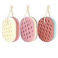 KECUCO 3 Pcs Soft Bath Sponge for Women, Men, Kids, 100% Fiber Sponge Body Shower...