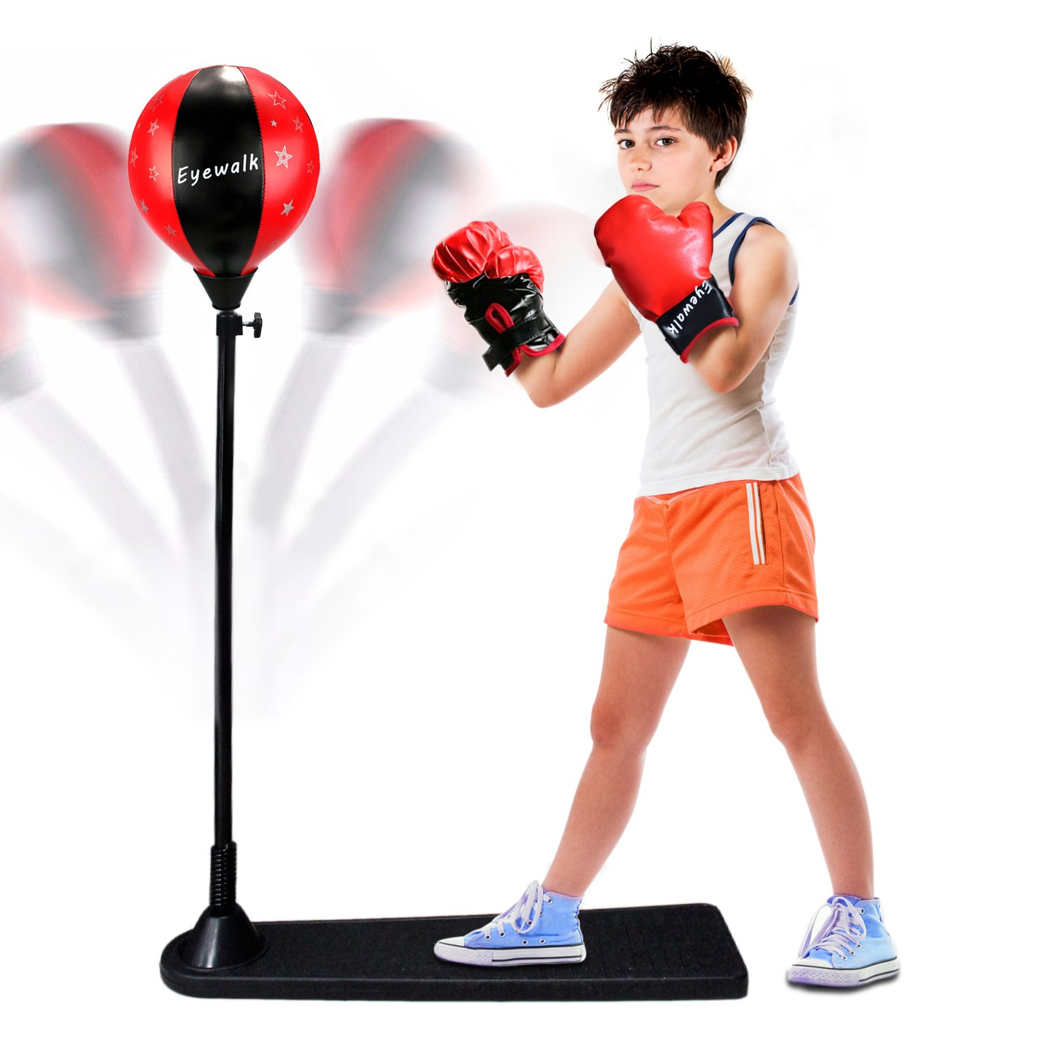 Eyewalk Boxing Punching Ball with Stand and Gloves Full Set for Kids Agility Coordination and Fun, Height Adjustable 31''-47''