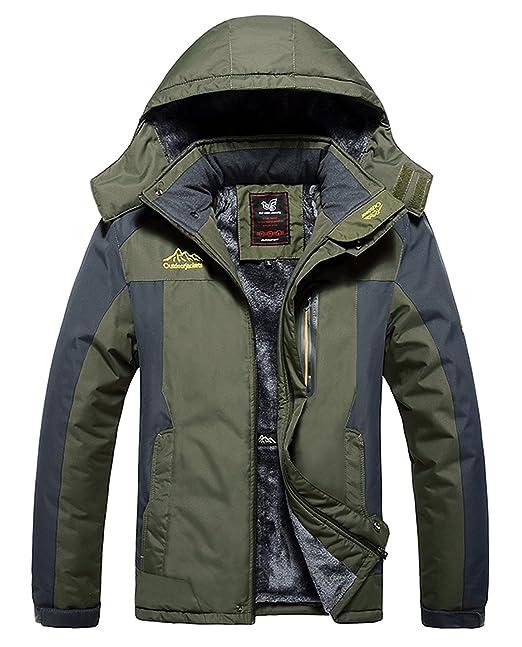 20e776b57 HOW'ON Men's Snow Jacket Windproof Waterproof Ski Jackets Winter Hooded  Mountain Fleece Outwear