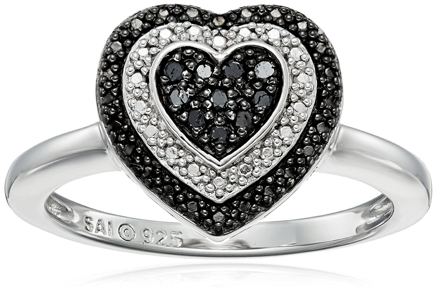 Sterling Silver 1/10cttw Black Diamond Heart Ring, Size 7 Amazon Collection 07630BDZZSG1
