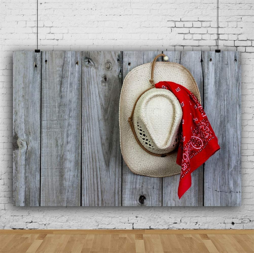 8x6.5ft Old Barn Wooden Fence Cowboy Hat Red Scarf Polyester Photography Background Wild West Backdrop Western Cowboy Portrait Shoot Countryside Rural Nostalgia Wallpaper Studio