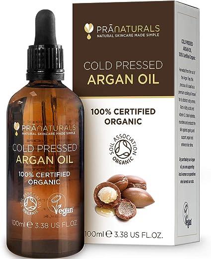 PraNaturals Aceite de Argán Marroquí 100% Orgánico Puro y Natural para Cara y Cuerpo - Rico