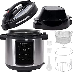 Thomson 9-in-1 Pressure, Slow Cooker, Air Fryer and More | Dual Lid with 6.5 QT Capacity, Digital Touch Display, Included Cooking Accessories