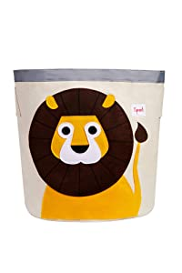 3 Sprouts Canvas Storage Bin - Laundry and Toy Basket for Baby and Kids, Lion