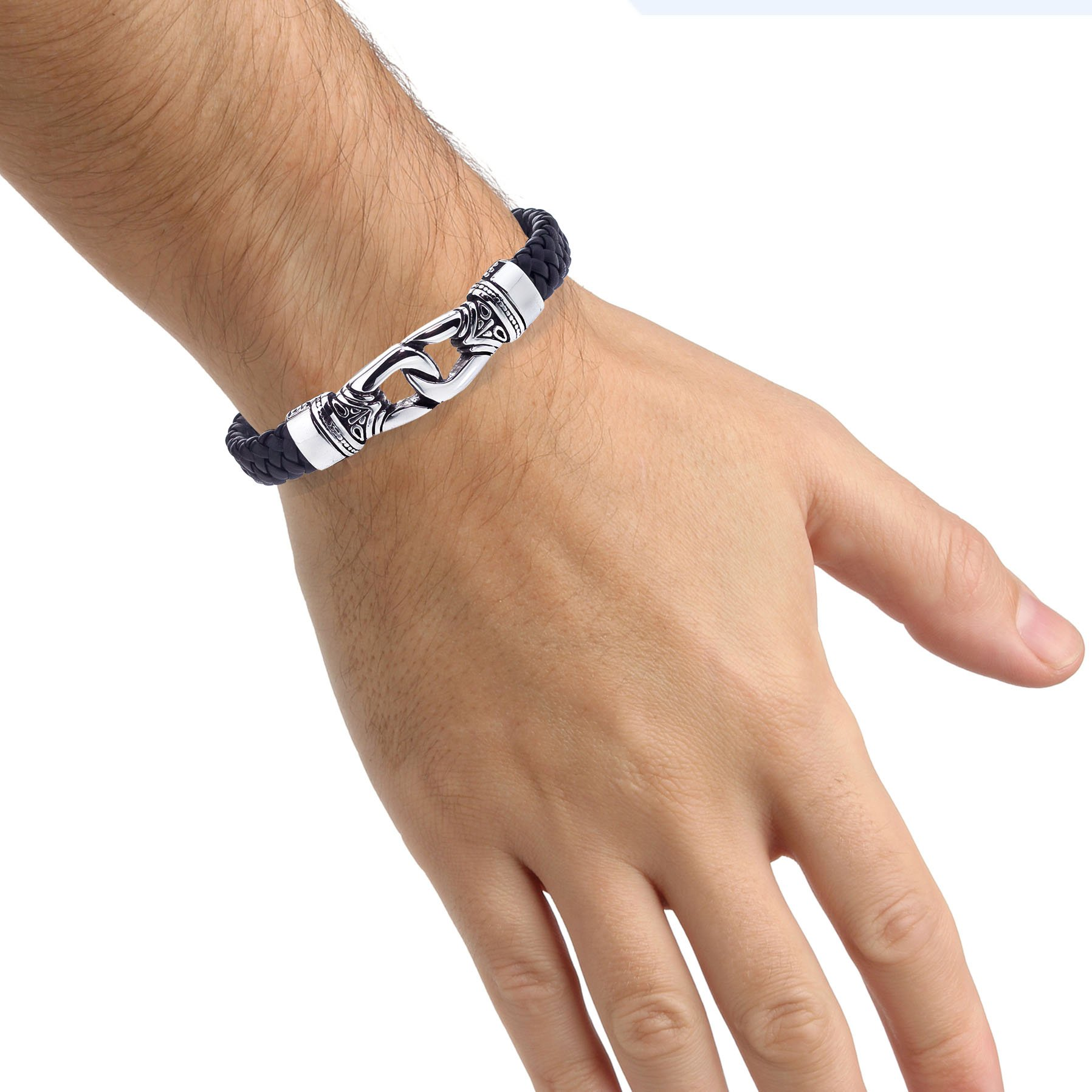 Antique Braided Black Leather Men's Bracelet Stainless Steel by AX Jewelry (Image #4)