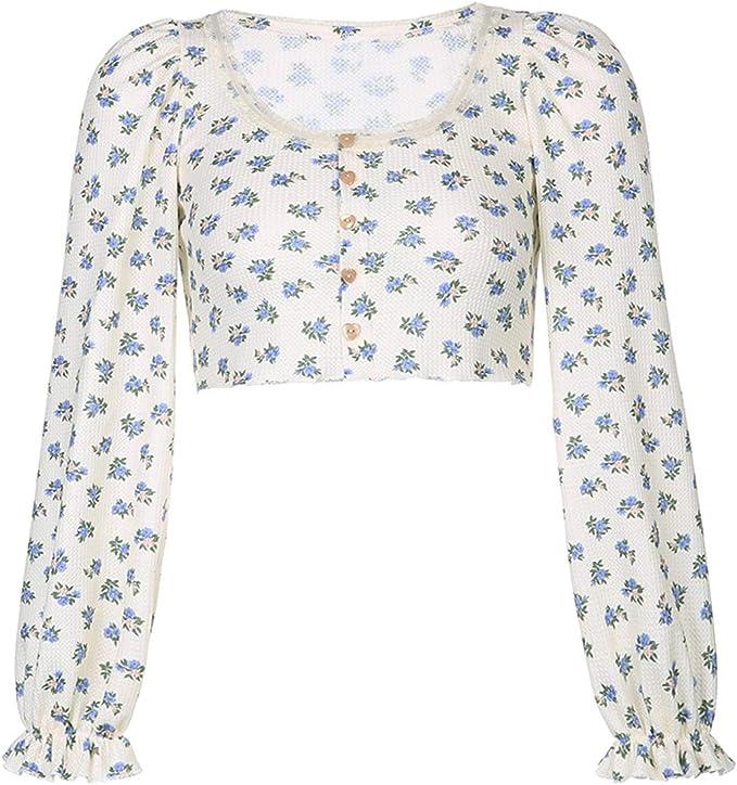 UANOU Linda Camiseta Dulce para Mujer Floral Y2 K Crop Top de ...
