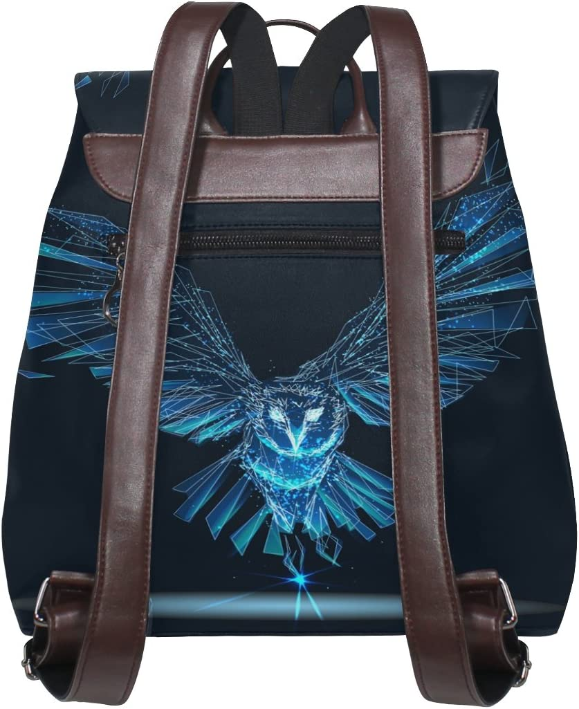 KUWT Dark Cool Owl PU Leather Backpack Photo Custom Shoulder Bag School College Book Bag Casual Daypacks Diaper Bag for Women and Girl