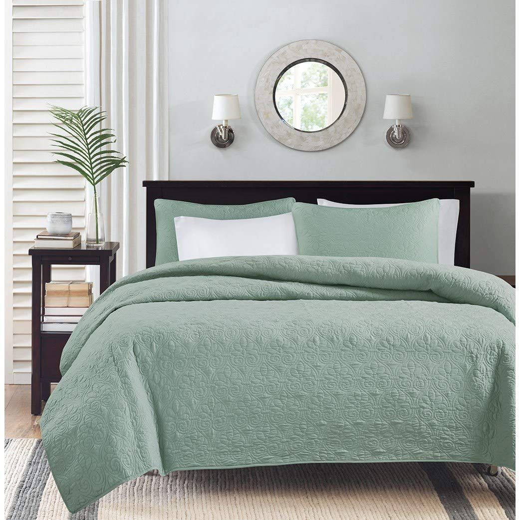 Madison Park Quebec Full/Queen Size Quilt Bedding Set - Seafoam, Damask - 3 Piece Bedding Quilt Coverlets - Ultra Soft Microfiber Bed Quilts Quilted Coverlet by Madison Park