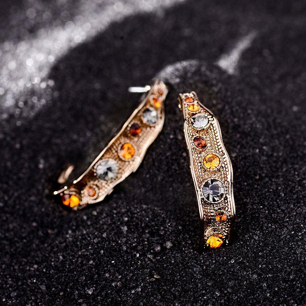 Hot Viennois Coffee Gold Color Woman Stud Earrings Top Austrian Rhinestone Vintage Semicircle Earrings