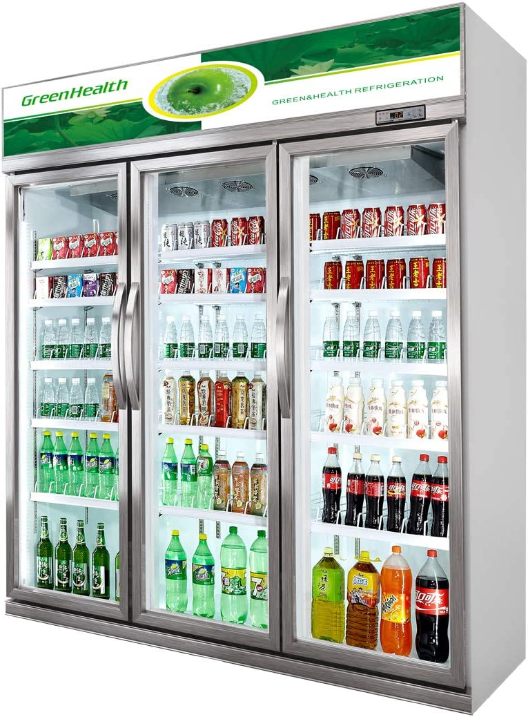 Commercial Glass 3 Door Display Refrigerator Merchandiser Upright Beverage Cooler (Silver)