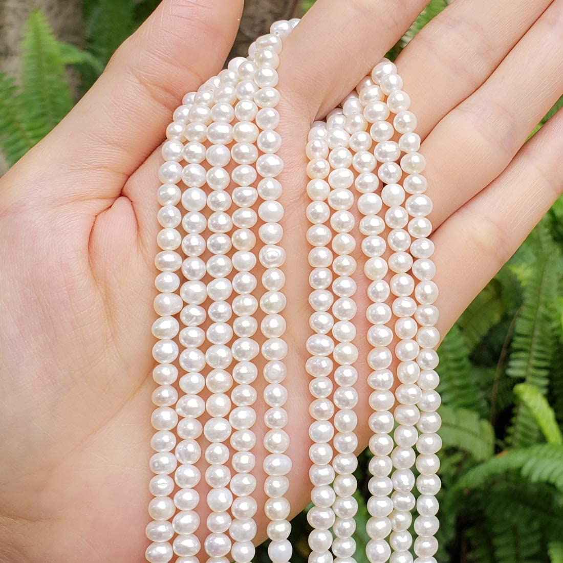 1 Strand Natural A Quality Potato Round White Cultured Freshwater Pearl Loose Beads 4 5mm For