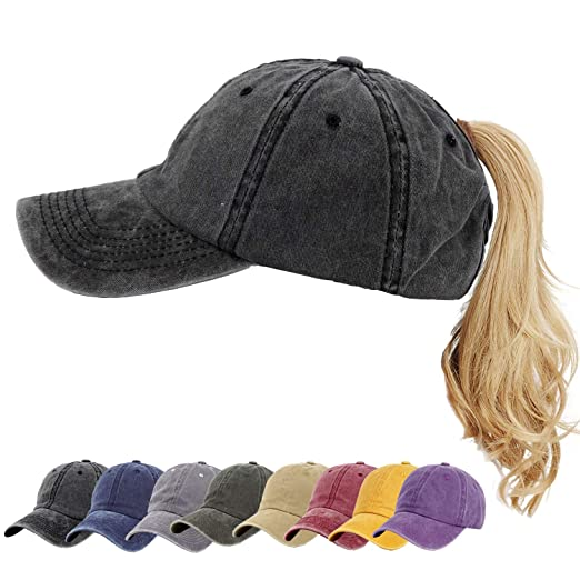 6a507c2d0 Women Ponytail Baseball Cap Vintage Washed Distressed Baseball-Cap Twill  Adjustable Dad-Hat