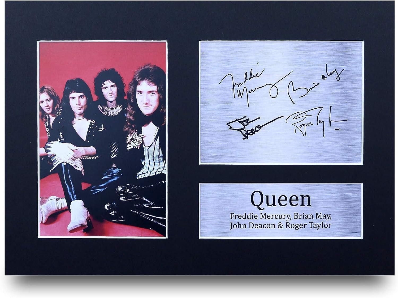 HWC Trading Queen A4 Sin Marco Regalo De Visualización De Fotos De Impresión De Imagen Impresa Autógrafo Firmado por Aficionados A La Música
