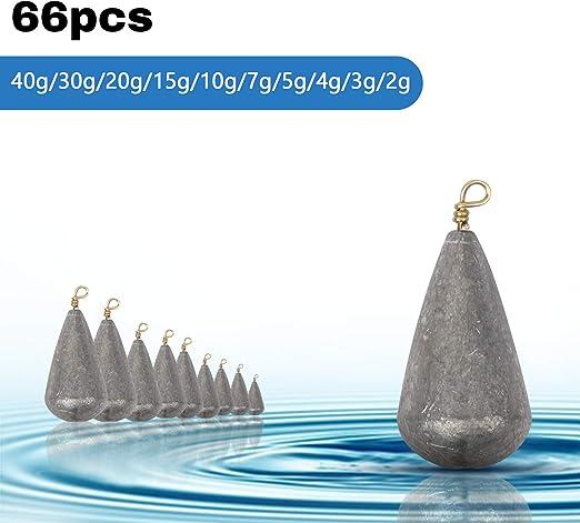 LAITER 66 St/ück Fischen Tropfen Form Wassertropfen Karpfen Fischen Gewicht auf See 10 Verschiedene Gr/ö/ßen Casting Sinker mit Aufbewahrungsbox Abstand Zubeh/ör zum Angeln