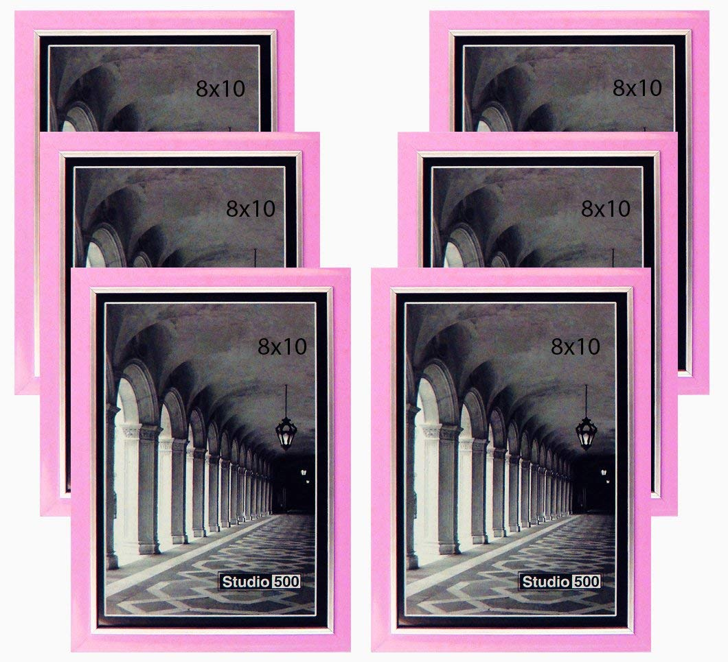"Studio 500 8 by 10-inch, Colorful Sleek Frames in Pink with Silver Accent (EPF1313), 6-Pack; Molding Size: 1/2""w x 5/8""l x 3/16""d"