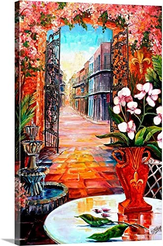 View from a French Quarter Courtyard Canvas Wall Art Print